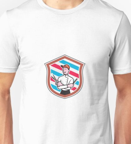 Barber Holding Scissors Comb Shield Cartoon Unisex T-Shirt