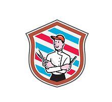 Barber Holding Scissors Comb Shield Cartoon by patrimonio