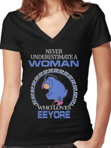 Never Underestimate A Woman Who Loves Eeyore T-shirts Women's Fitted V-Neck T-Shirt