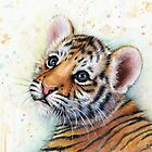 Tiger Cub Watercolor Art by OlechkaDesign