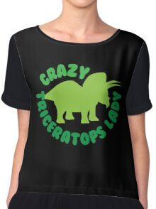 Crazy triceratops lady (dinosaur) Chiffon Top