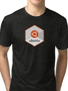 ubuntu linux unix operating system hexagonal Tri-blend T-Shirt