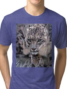Wildlife Art - Snow Leopard Tri-blend T-Shirt