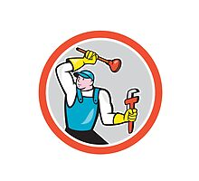 Plumber Holding Wrench Plunger Cartoon by patrimonio