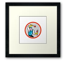 Plumber Holding Wrench Plunger Cartoon Framed Print
