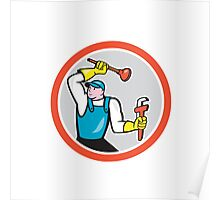 Plumber Holding Wrench Plunger Cartoon Poster