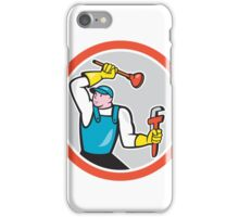 Plumber Holding Wrench Plunger Cartoon iPhone Case/Skin