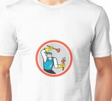 Plumber Holding Wrench Plunger Cartoon Unisex T-Shirt