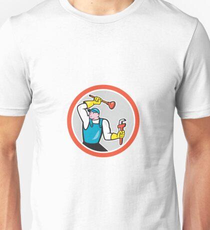 Plumber Holding Wrench Plunger Cartoon Unisex T-Shirt