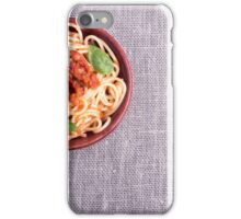 Top view of a gray mat with a small portion of cooked spaghetti  iPhone Case/Skin