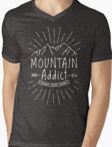 Mountain Addict Mens V-Neck T-Shirt