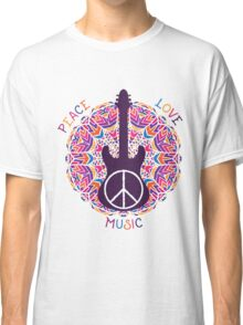 Hippie peace symbol. Peace, love, music sign and guitar on ornate colorful mandala background. Classic T-Shirt