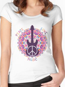Hippie peace symbol. Peace, love, music sign and guitar on ornate colorful mandala background. Women's Fitted Scoop T-Shirt