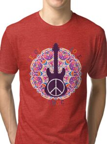 Hippie peace symbol. Peace, love, music sign and guitar on ornate colorful mandala background. Tri-blend T-Shirt
