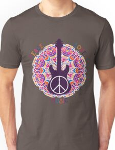 Hippie peace symbol. Peace, love, music sign and guitar on ornate colorful mandala background. Unisex T-Shirt