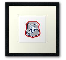 American Rodeo Cowboy Bull Riding Cartoon Framed Print