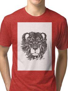 Leo Lion Black and White Zodiac Illustration Tri-blend T-Shirt