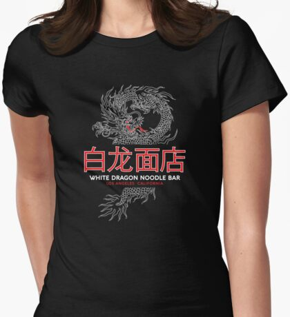 White Dragon Noodle Bar - ½ White Cut Mandarin Variant Womens Fitted T-Shirt