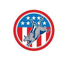 American Rodeo Bull Riding Circle Cartoon by patrimonio