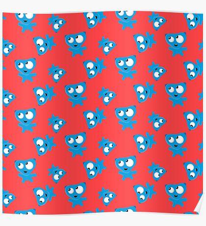 Blue little Monster   Poster