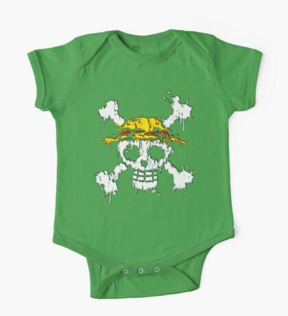 strawhat skull grunge One Piece - Short Sleeve