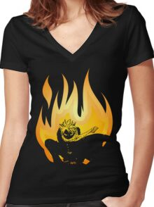 On Fire Women's Fitted V-Neck T-Shirt
