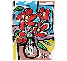 Bold Red Flowers Poster