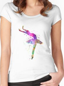 woman ballerina ballet dancer dancing  Women's Fitted Scoop T-Shirt