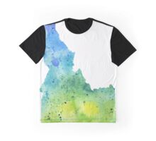 Watercolor Map of Idaho, USA in Blue and Green - Giclee Print of My Own Watercolor Painting Graphic T-Shirt