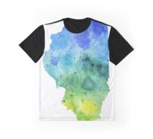 Watercolor Map of Illinois, USA in Blue and Green - Giclee Print of My Own Watercolor Painting Graphic T-Shirt