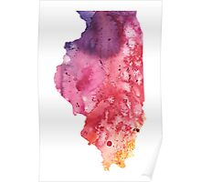 Watercolor Map of Illinois, USA in Orange, Red and Purple - Giclee Painting Poster