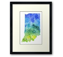 Watercolor Map of Indiana, USA in Blue and Green - Giclee Print of My Own Watercolor Painting Framed Print