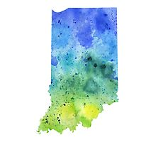 Watercolor Map of Indiana, USA in Blue and Green - Giclee Print of My Own Watercolor Painting Photographic Print