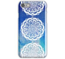 White Floral Medallion on Indigo & Turquoise Watercolor iPhone Case/Skin