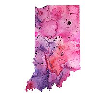 Watercolor Map of Indiana, USA in Pink and Purple - Giclee Print of My Own Watercolor Painting Photographic Print
