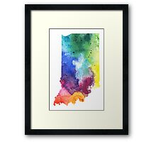 Watercolor Map of Indiana, USA in Rainbow Colors - Giclee Print of My Own Watercolor Painting Framed Print