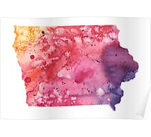 Watercolor Map of Iowa, USA in Orange, Red and Purple - Giclee Print of my Own Painting Poster