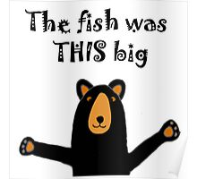 Funny Funky Black Bear with Fish Story Poster
