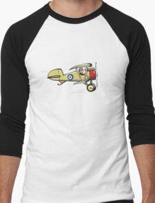 Cartoon biplane Men's Baseball ¾ T-Shirt