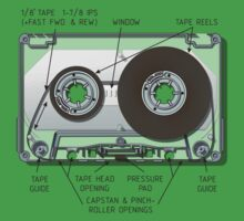 Audio cassette cutaway One Piece - Short Sleeve