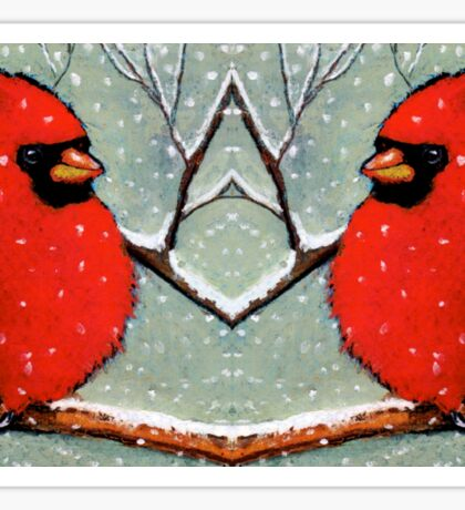 Cardinal Couple, Red Birds in Snow, Winter, Painting, Wildlife Sticker