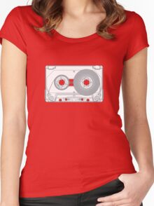 Audio cassette cutaway Women's Fitted Scoop T-Shirt