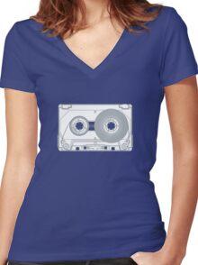 Audio cassette cutaway Women's Fitted V-Neck T-Shirt