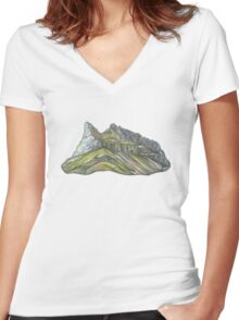 Mountain Alkhornet on Svalbard Women's Fitted V-Neck T-Shirt