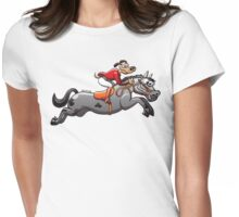 Equestrian Jumping Dog Riding a Horse Womens Fitted T-Shirt