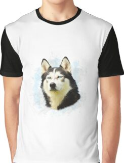 Siberian Husky Dog Water Color Art Painting Graphic T-Shirt
