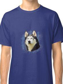 Siberian Husky Dog Water Color Art Painting Classic T-Shirt