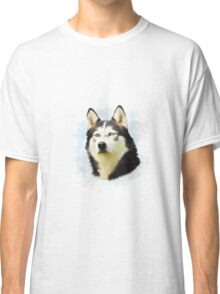 Siberian Husky Dog Water Color Art Painting Classic T-Shirt