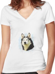 Siberian Husky Dog Water Color Art Painting Women's Fitted V-Neck T-Shirt