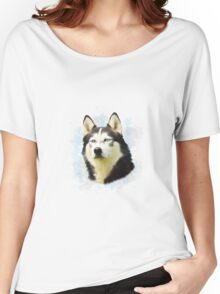 Siberian Husky Dog Water Color Art Painting Women's Relaxed Fit T-Shirt